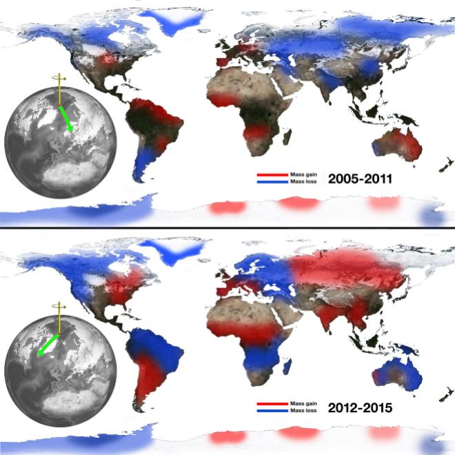 El deshielo de los polos desplaza el eje de rotación de la Tierra al Este