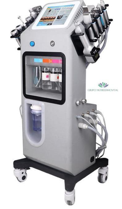 NDV HYDRA-SKIN 12 Tecnologías en 1 (Cabezal de peeling de agua, Martillo frío y calor, Micro rodillo de Microcorrientes, Lápiz (pluma/pen) de oxígeno de agua, Manipulo de Ozono para esterilización y eliminación de acné, Lápiz (pen) de burbujas de oxígeno, Ultrasonido facial, Radiofrecuencia, Pistola de microaguja rf